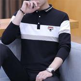 秋冬季長袖T恤男士襯衫領韓版Polo衫潮流翻領打底衫男裝有領上衣『潮流世家』