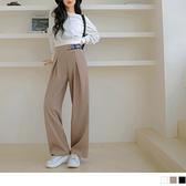 純色高腰鬆緊英文織帶西裝落地闊腿褲(3色) OrangeBear《BA6517》