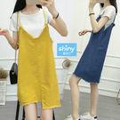 【V2816】shiny藍格子-夏日色彩.V領細肩不規則毛邊下擺吊帶裙
