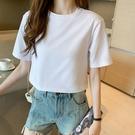 露臍上衣 白色T恤女短袖寬鬆夏季高腰女裝2021新款短款內搭純白露臍上衣棉 韓國時尚 618