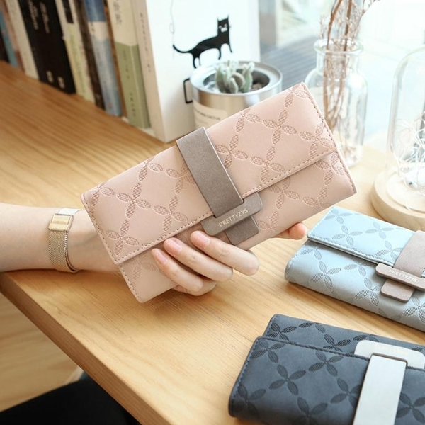 凡元素韓版新款長款女士錢包撞色搭扣簡約大容量多卡位錢夾手拿包 至簡元素