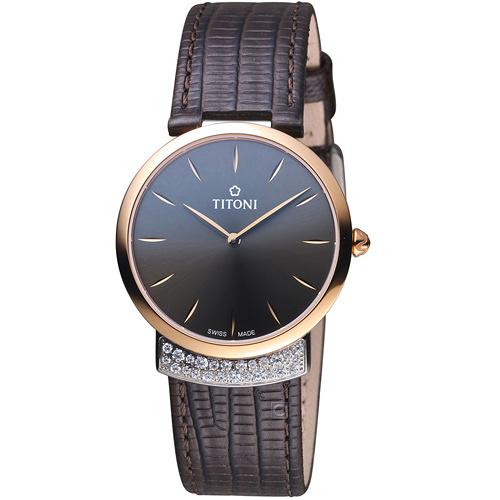 TITONI MADEMOISELLE優雅伊人系列皮革腕錶 TQ42912SRG-ST-592