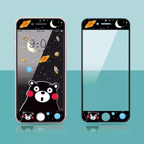 【SZ93】iPhone 6s鋼化膜 卡通龍貓熊本熊小新軟邊 iPhone 7/8 plus 鋼化玻璃膜 螢幕貼 手機貼膜