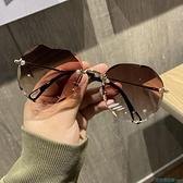 墨鏡 2020新款復古切邊茶色無框墨鏡女ins圓臉個性網紅明星款太陽眼鏡 快速出貨