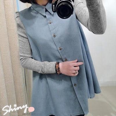 【4790】shiny藍格子-甜蜜季節.撞色牛仔拼接排釦公主袖長版襯衫