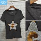 【V9130】shiny藍格子-舒適質感.星星亮片圓領短袖上衣