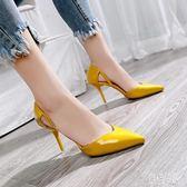 高跟鞋女2019新款春季尖頭淺口時尚百搭女細跟中空單鞋 aj8270『紅袖伊人』