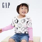 Gap女幼童 Gap x Snoopy 史努比系列純棉假兩件T恤 740310-白色