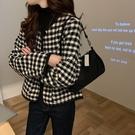 DE shop - 外套女秋冬百搭韓版寬鬆休閒粗花呢千鳥格短款長袖上衣 D-8002