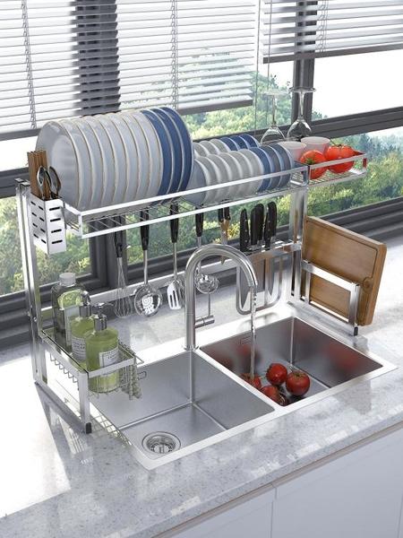 水槽瀝水架 水槽置物架不銹鋼碗架瀝水架洗碗池收納架子 育心館
