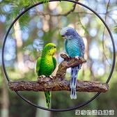 仿真樹脂虎皮金剛鸚鵡鳥類動物雕塑擺件庭院花園林樹上裝飾品掛件 聖誕節全館免運