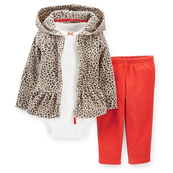 【美國Carter's】套裝3件組 - 豹紋印花連帽保暖外套+短袖包屁衣+長褲  121C859