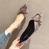 網紅同款鞋春季新款韓版百搭尖頭單鞋平底淺口瓢鞋船鞋女鞋子 艾莎嚴選