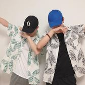 韓國ulzzang短袖襯衫港風復古chic風棉麻寬鬆夏威夷襯衣外套男女  巴黎街頭