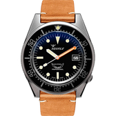 SQUALE 鯊魚錶 1521經典系列機械錶-黑x棕/42mm 1521BKBL.PC
