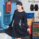 休閒洋裝--動感可愛圓領拼接羅紋袖口雙側配色綁帶長袖洋裝(黑.紫XL-5L)-A280眼圈熊中大尺碼