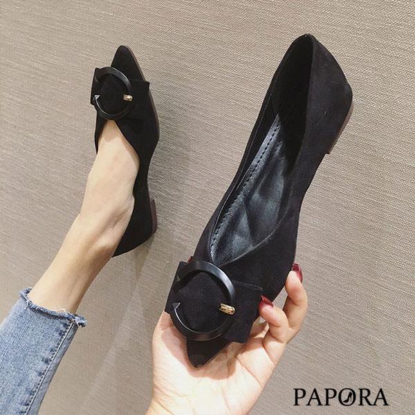 PAPORA雜誌優選休閒平底娃娃包鞋KM492 黑/綠/卡其