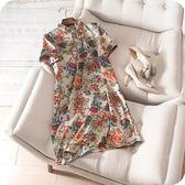 洋裝-短袖中國風復古旗袍式立領碎花連身裙2色73sz40[時尚巴黎]