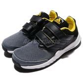 adidas 慢跑鞋 FortaGym CF K 黑 黃 緩震舒適 魔鬼氈 運動鞋 童鞋 中童鞋【PUMP306】 BA9336
