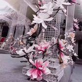 EVA仿真手感泡沫花歐式復古大玉蘭花落地花卉婚慶背景櫥窗裝飾 【PINK Q】
