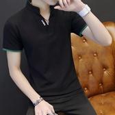 短袖POLO衫夏季短袖T恤男士立領修身體恤衫POLO衫男潮流個性男裝衣服男【快速出貨】