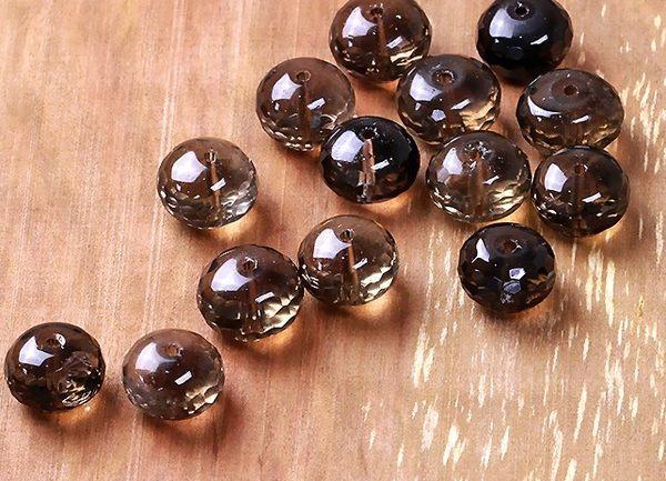 [協貿國際]天然茶水晶角度算盤珠DIY手工飾品配件(6入價)