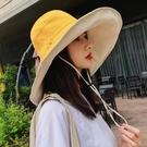 雙面遮陽帽女韓版漁夫帽百搭大沿夏季防曬紫外線遮臉超大太陽帽子  【端午節特惠】