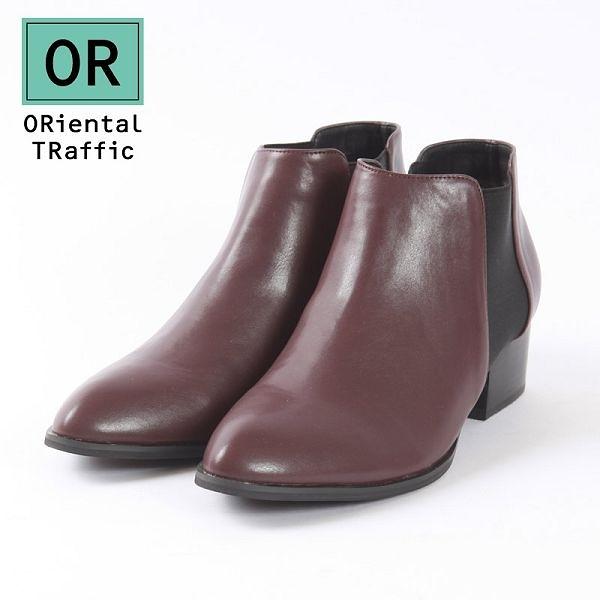 【ORiental TRaffic】百搭側鬆緊帶中跟短靴-個性咖