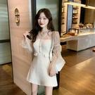 小香風洋裝 秋季新款連衣裙女網紗V領長袖拼接收腰A字氣質短裙子潮 - 古梵希