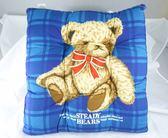 ~震撼  ~ 泰迪熊_STEADY BEARS 方形靠枕坐墊~藍格紅格紅藍~共四款