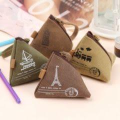 韓版復古水洗帆布粽子零錢包 鑰匙包 手拿包-艾發現
