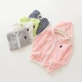 防曬外套。男女童條紋連帽拉鍊薄款防曬外套 *繪米熊童裝*(AM60507)