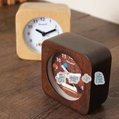 鐘表簡約鬧鐘創意床頭鐘學生原木小鬧表【奇趣小屋】