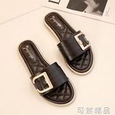 網紅平底拖鞋女夏季韓版一字拖學生百搭外穿沙灘涼拖鞋ins潮 可然精品