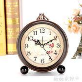 鬧鐘 歐式復古學生小鬧鐘 創意床頭鐘表擺件靜音臥室座鐘簡約台鐘時鐘 微微家飾
