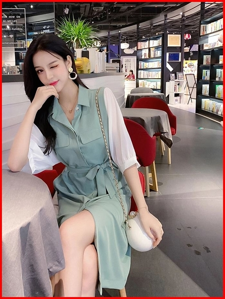 韓系春夏短袖洋裝 韓版拼接雪紡五分袖綁帶收腰口袋連衣裙 依多多