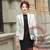 小西服女裝春季格子西裝外套女年新款韓版小香風氣質休閒短款小西服上衣【風之海】