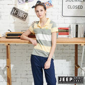 【JEEP】女裝立體織紋吸濕排汗POLO衫-黃色