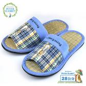 【クロワッサン科羅沙】Peter Rabbit TP雙心格素邊草蓆室內拖鞋 (藍28CM)