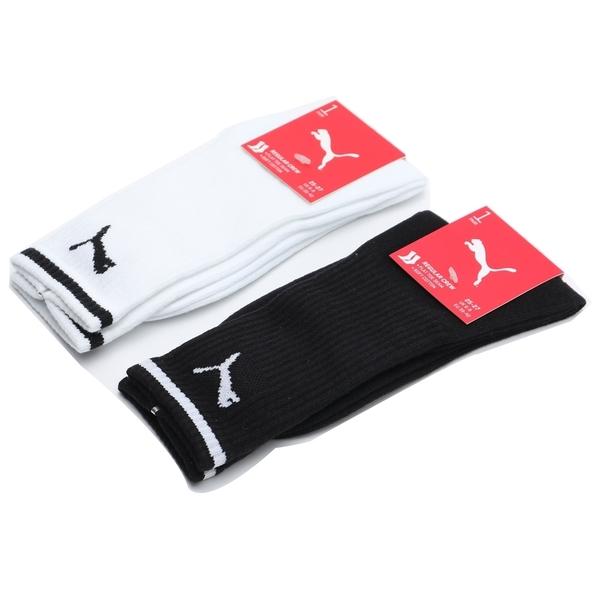 PUMA 中性襪 條紋 LOGO 中筒襪 運動 襪子 男女 (布魯克林) 白BB124802 黑BB124801