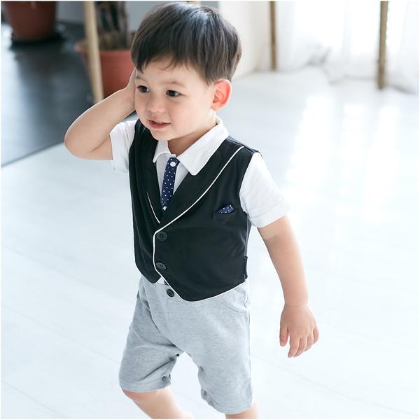 短袖連身衣 紳士 背心 假三件 爬服 哈衣 男寶寶 小紳士 小花童 Augelute Baby 60356