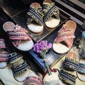 沙灘鞋女民族風編織亞麻交叉帶拖鞋波西米亞涼鞋女潮 伊衫風尚