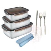派樂 嚴選304不鏽鋼 保鮮盒+環保餐具組 大容量超值10件組-煮加熱便當盒筷子湯匙叉子安心組