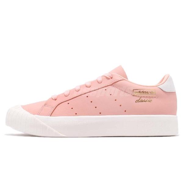 adidas 休閒鞋 Everyn W 粉紅 白 復古奶油底 金標 厚底 餅乾鞋 女鞋【PUMP306】 B37450