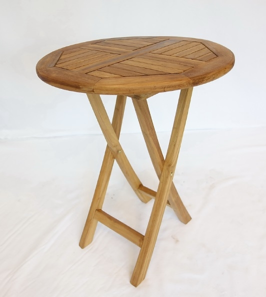 【南洋風休閒傢俱】戶外餐桌椅系列-60公分柚木圓桌  實木折桌   戶外野餐桌 (#061T)
