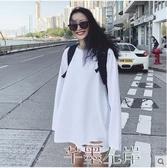 長袖T恤春秋韓版中長款白色t恤女長袖寬鬆上衣破洞內搭百搭加絨打底衫冬 7月熱賣