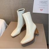 中筒靴子女潮鞋2021秋冬新款氣質百搭顯瘦漆皮短靴高跟粗跟馬丁靴 8號店