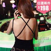 後交叉美背襯墊背心-J-Rainbow【A360390】