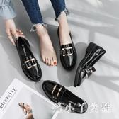 牛津鞋女 黑色小皮鞋女平底單鞋2018夏新款韓版百搭時尚一腳蹬女鞋子TL71【潘小丫女鞋】