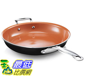 [2美國直購] 陶瓷不沾鍋 Gotham Steel 9953 Non-Stick Titanium Frying Pan, 12.5吋, Brown